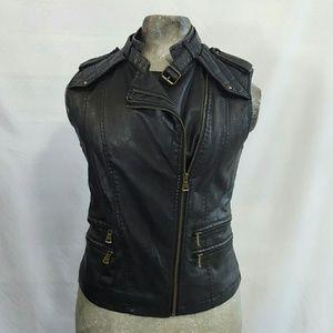 F21 vegan leather black biker vest size M